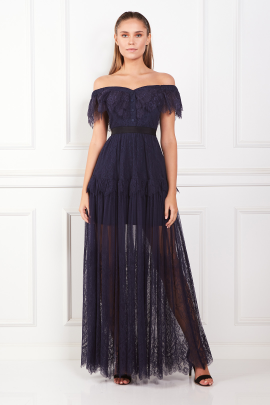 Off Shoulder Navy Maxi Dress-0