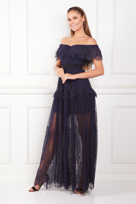 Off Shoulder Navy Maxi Dress-1