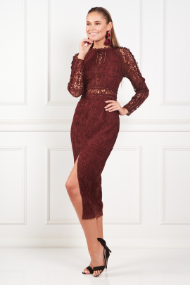 Burgundy Pencil dress-1