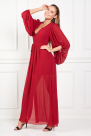 Red Pleated Crepe Gown