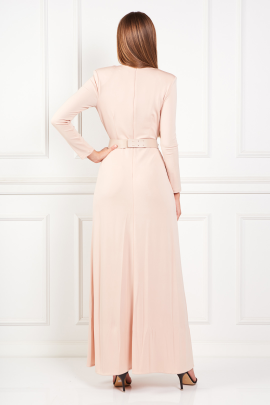 Nude Long Dress With Belt-2