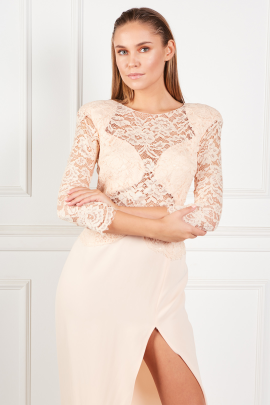* Dusty Pink Lace Dress-3