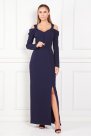 Navy Cold-Shoulder Crepe Gown