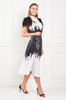 * Dress With Feather Print-1