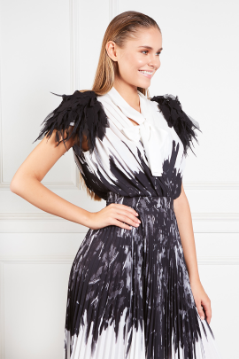 * Dress With Feather Print-3