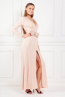 Nude Long Dress With Belt-1