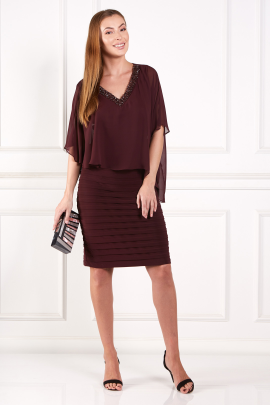 Burgundy Layered Dress-0