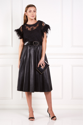 Black Abu Dhabi Dress With Feathers-0
