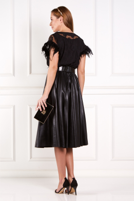 Black Abu Dhabi Dress With Feathers-2