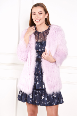 Faux Fur Coat In Purple-1
