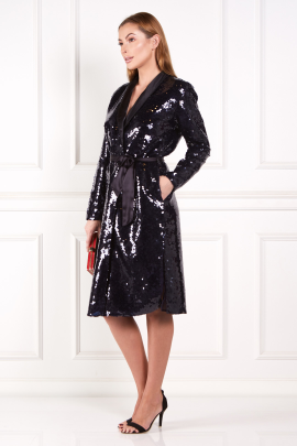 Silk Satin-Trimmed Sequined Chiffon Robe-1
