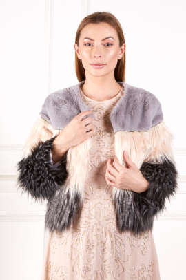 Exlusive Colorblock Faux Fur Coat-0