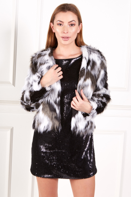 Faux Fur Coat In Black And White-0