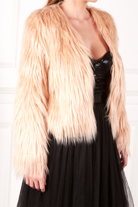 Faux Fur Coat In Dusty Rose-1