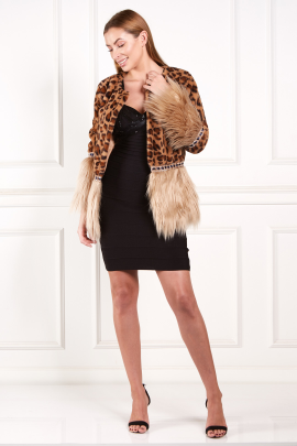 Two Tones Faux Fur Coat-0