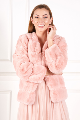 Pink Faux fur coat-0