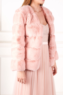 Pink Faux fur coat-1