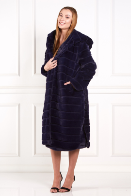 Navy Faux Fur Long Coat-0