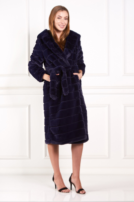 Navy Faux Fur Long Coat-1