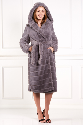 Grey Faux Fur Long Coat-0