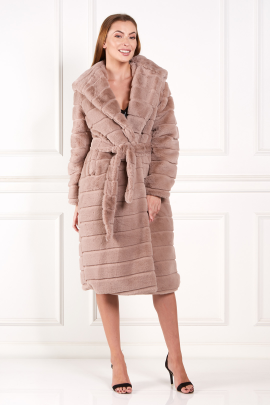 Brown Faux Fur Long Coat-0
