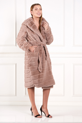 Brown Faux Fur Long Coat-1