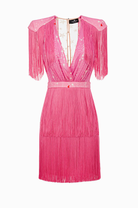 * Pink Mini Dress With Fringes / VILNIUS-0
