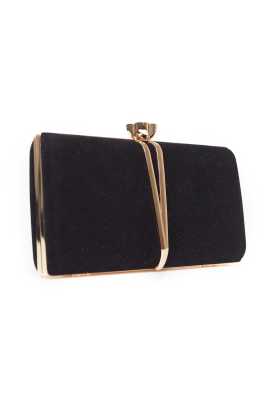Velour Clutch Bag With Decor-0