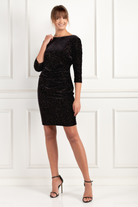 Black Velour Miriam Dress-0