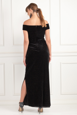 Long Black Velour Dress-2