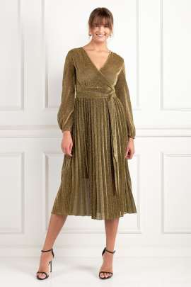 Gold Pleated Glitter Dress-1