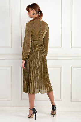 Gold Pleated Glitter Dress-2