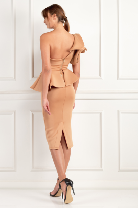 Beige One Shoulder Peplum Dress-1