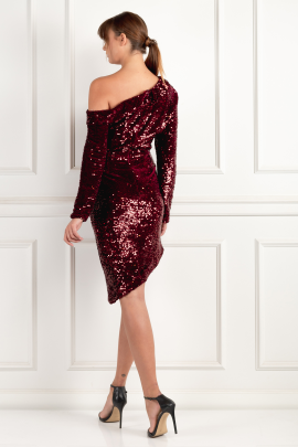 Asymmetric Mini Dress In Burgundy-2