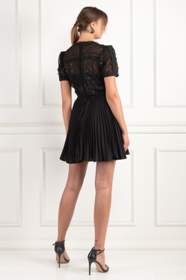Sequin Mesh Puff Sleeve Mini Dress-1