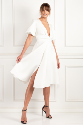 Sleeve Twist Detail White Dress-0