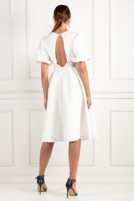 Sleeve Twist Detail White Dress-2