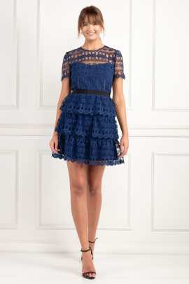 Tiered Guipure Navy Dress-1