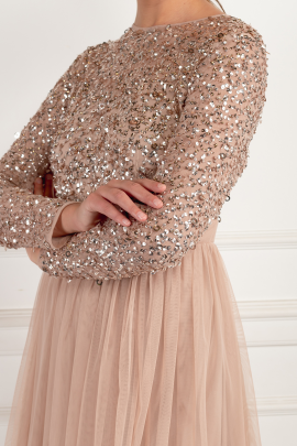 Long Sleeve Sequin Top Dress -3