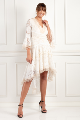 * Pearl White Ash Dress-0