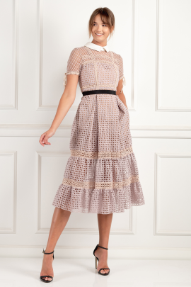 Crosshatch Tiered Dress-0