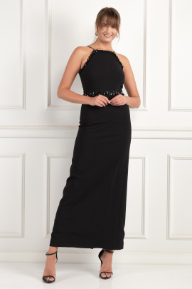 Embellished Crepe Gown -0