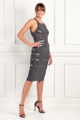 Dega Sequined Bandage Dress-2