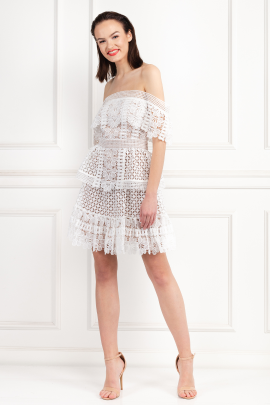 * Off-The-Shoulder Guipure Lace Dress-0