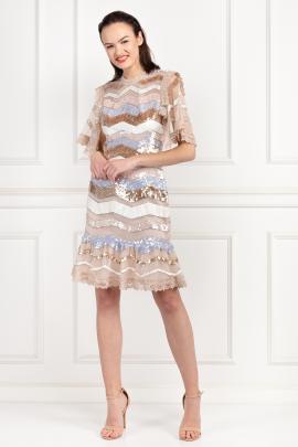 * Sequin Embellished Zig Zag Dress / VILNIUS-1