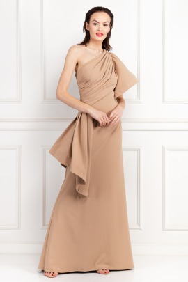 * Aboah One-Shoulder Nude Gown -1