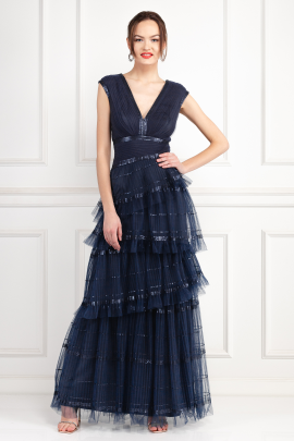 Korey Navy Tulle Gown -1