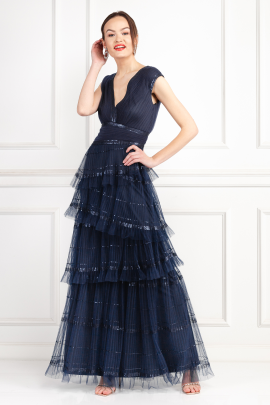 Korey Navy Tulle Gown -0