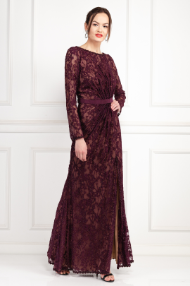 Seckon Lace Burdungy Gown-1