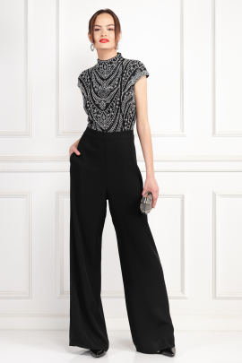 Kiri Black Embroidered Jumpsuit-0
